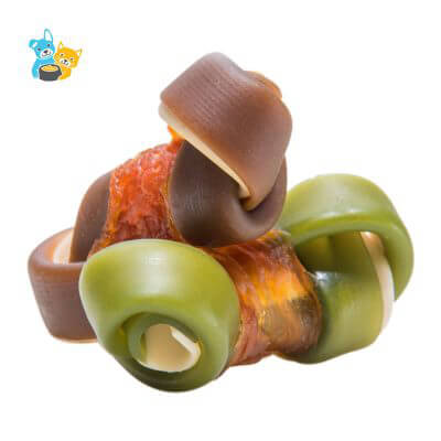 Chicken and 2-color knotted dental bone wraps